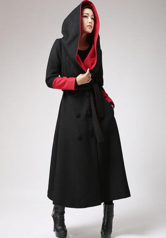 moderne Damenmäntel aktuelle Trendfarben schwarz rot