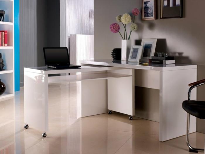 moderne büroeinrichtung weiße büromöbel rollen ergonomisch