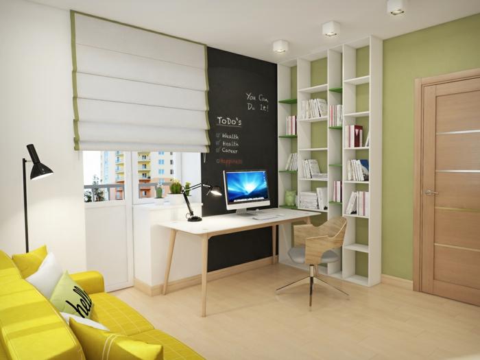 modernes home office einrichtung büro wandregal bücherregale schreibtisch stuhl