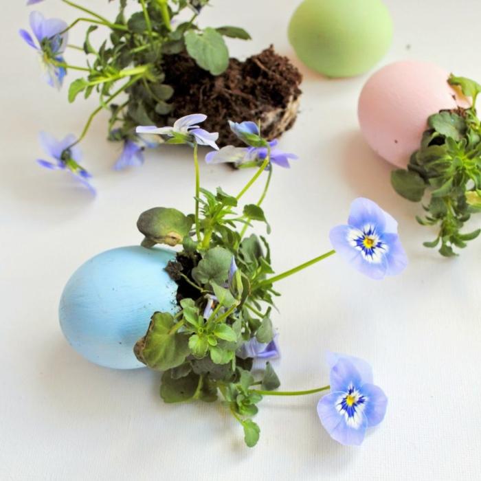 osterdeko bastelnblumen eierschalen kreatives basteln ostern