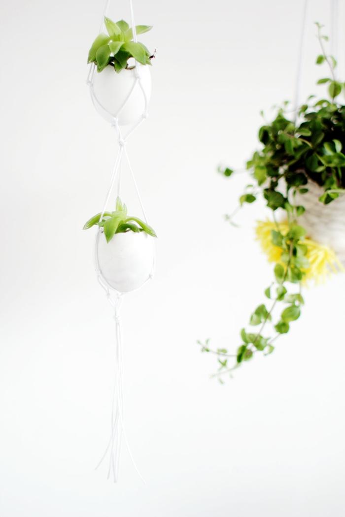 osterdeko basteln eierschalen aufhängen pflanzen arrangieren