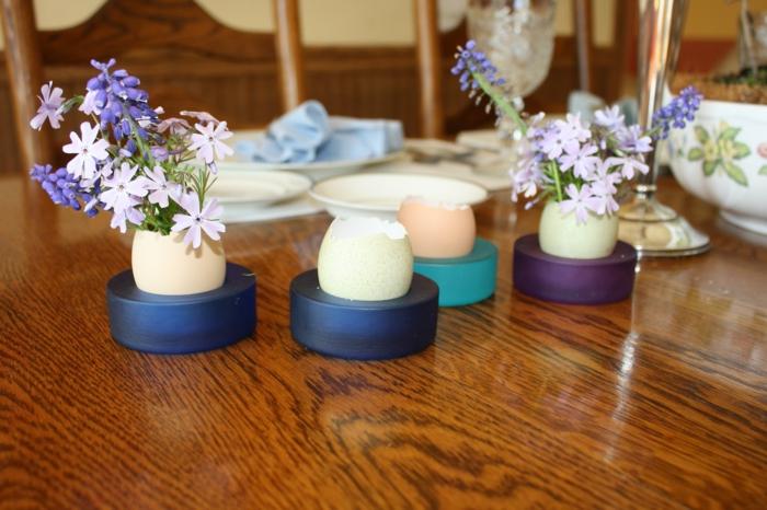 osterdeko basteln eierschalen vasen kreative dekoideen