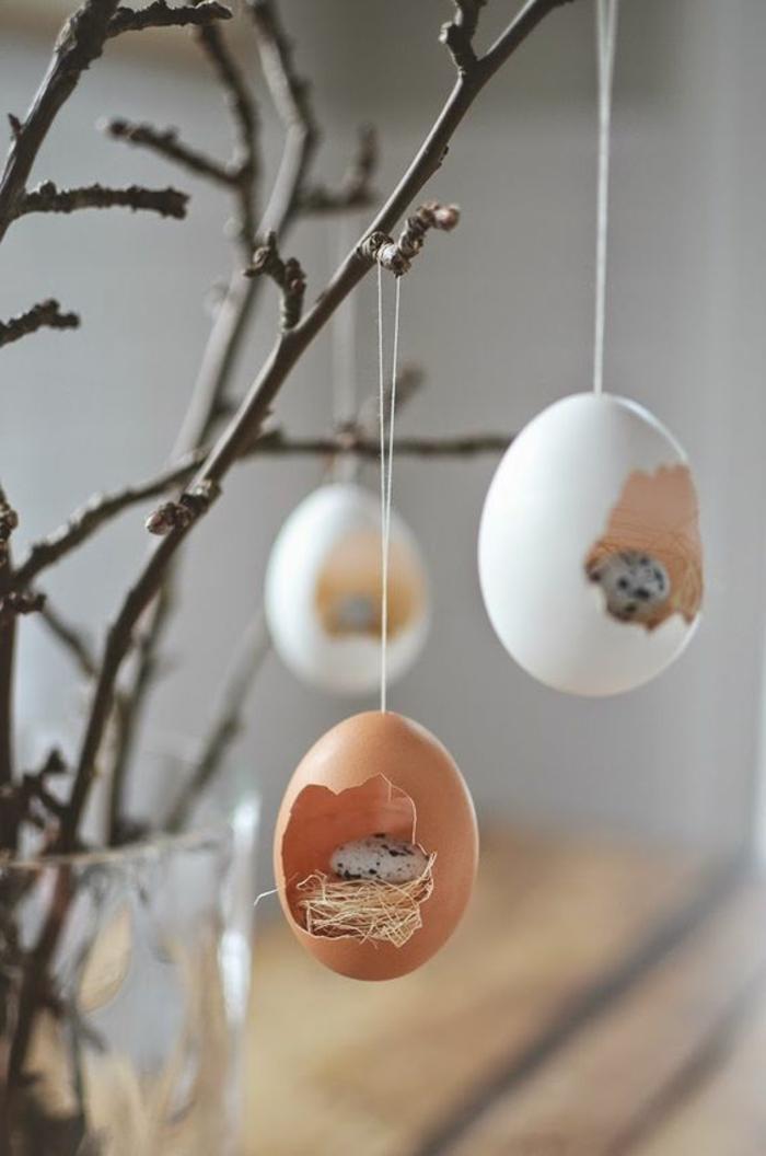 dekoideen ostern eierschalen aufhängen zweige