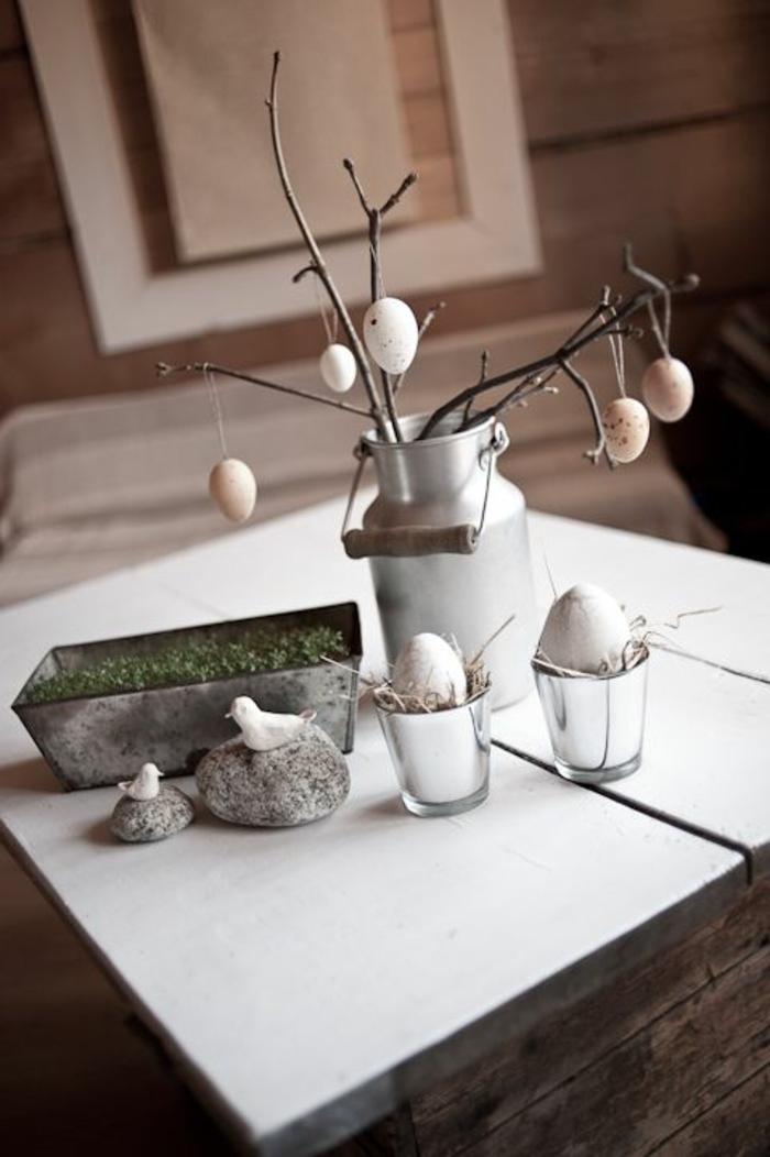 dekoideen ostern ostereier baum zweig kreatives basteln dekoideen
