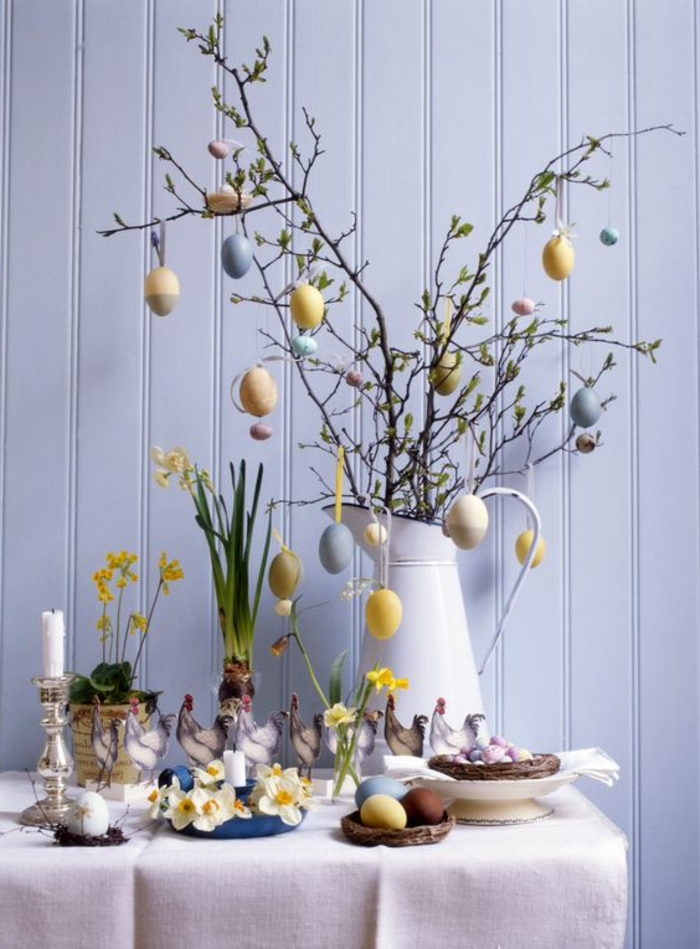 dekoideen ostern tischdeko ostern frühlingsblumen kerzen