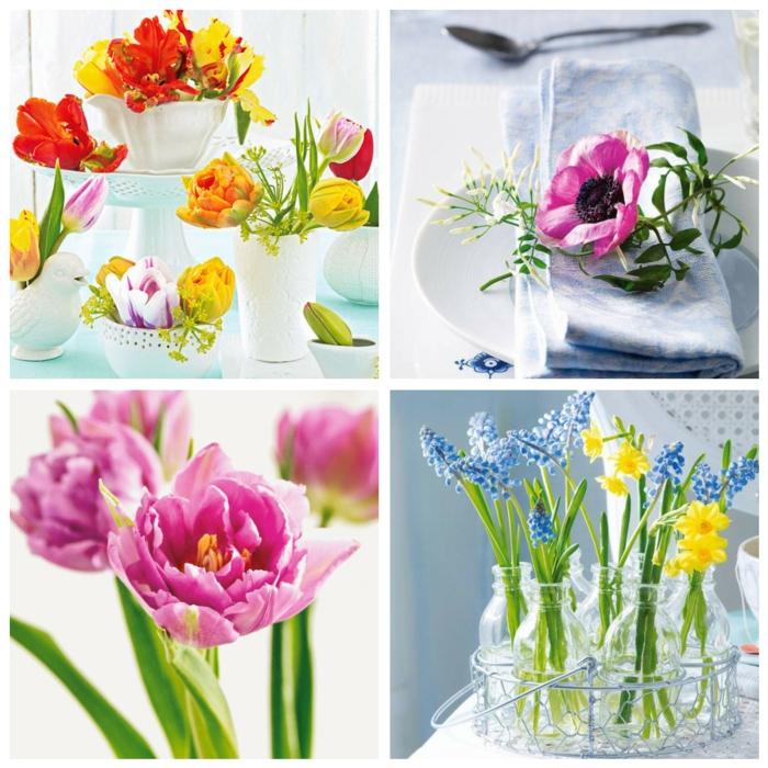 osterdeko ostern tischdekoration frühlingsblumen weißes porzellan tulpen narzissen