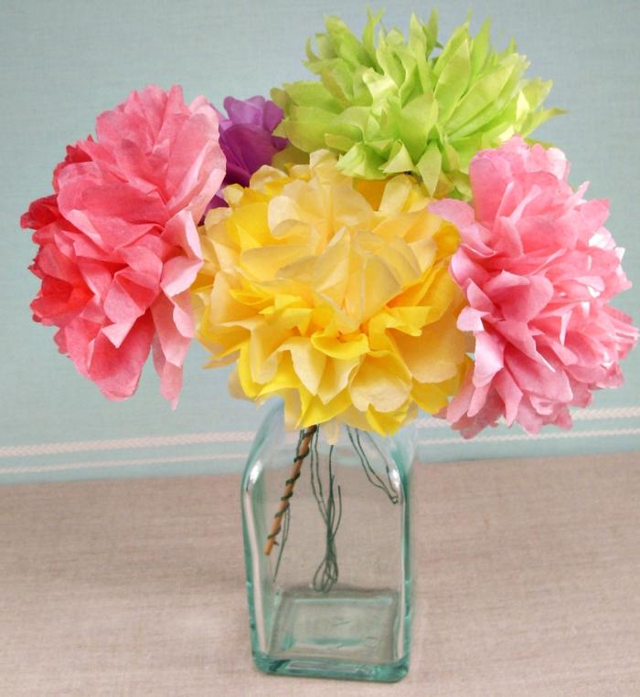 osterdeko selber machen diy papierblumen farbig