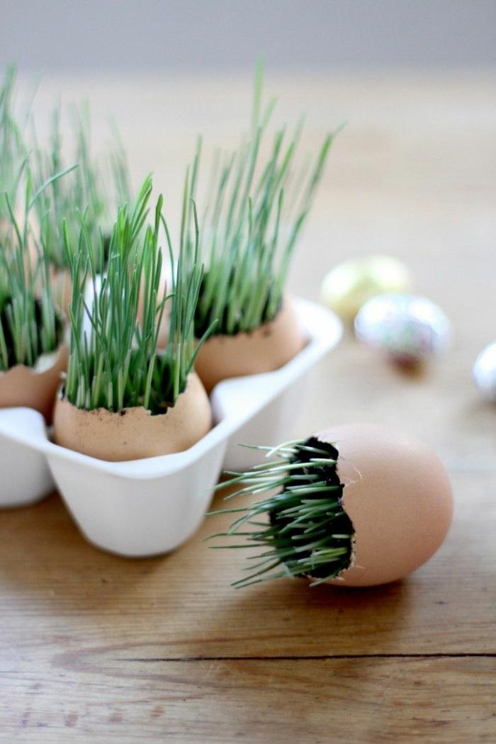 osterdeko selber machen eierschalen grün tischdeko ostern ideen
