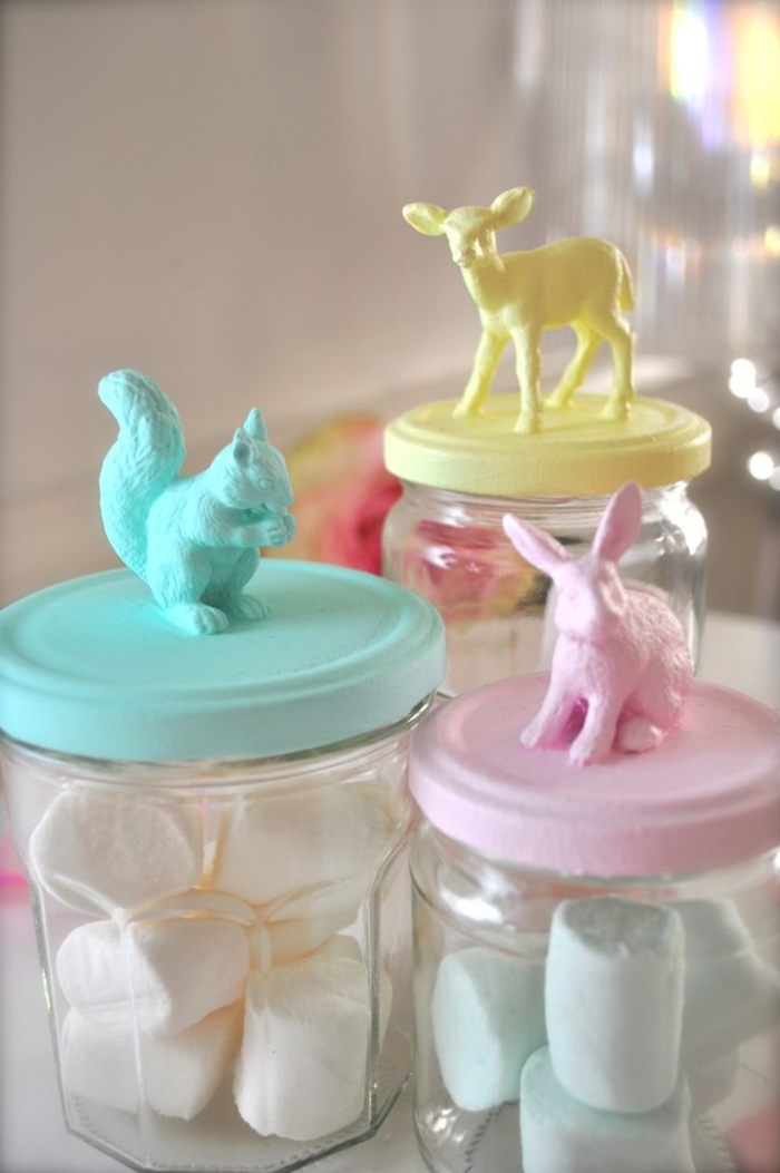 osterdeko selber machen einmachgläser benutzen originell pastellfarben
