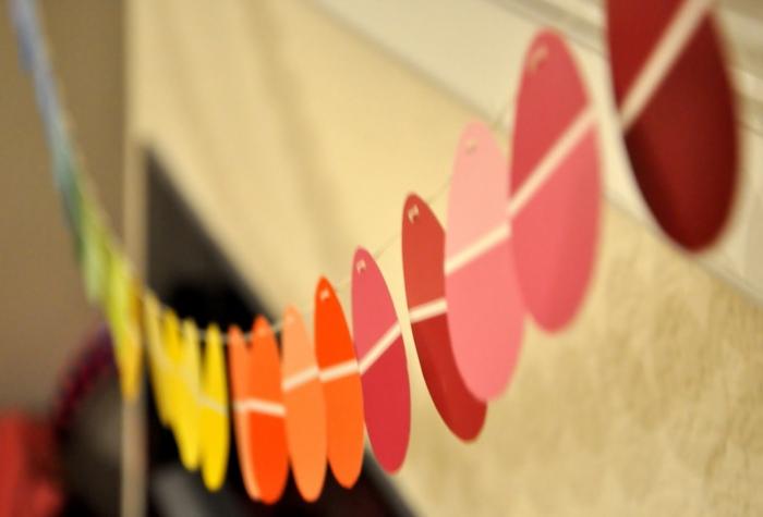 osterdeko selber machen girlande papier farbig