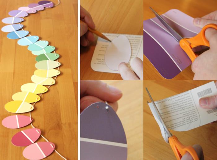 osterdeko selber machen girlande papier ostereier farbig