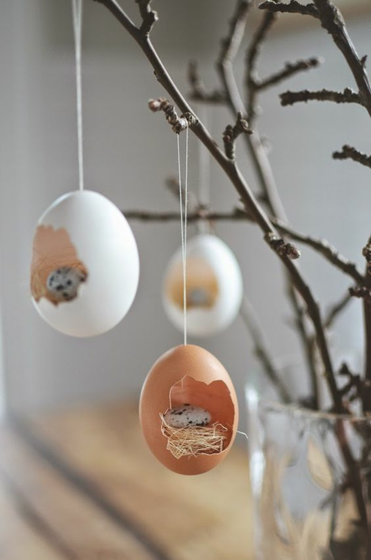 osterdekoration ausgeblasene ostereier rustikale osterdeko ideen