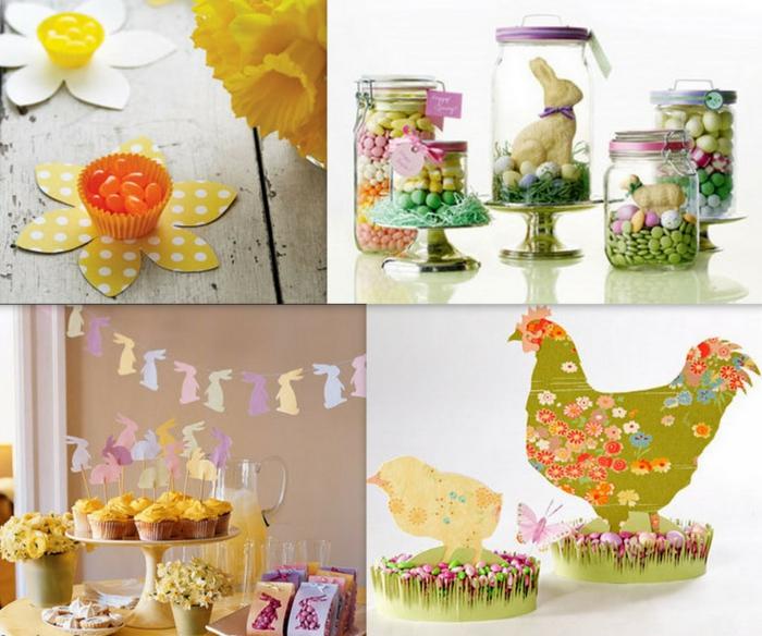 osterdekoration tisch süßigkeiten cupcakes papiergirlanden osterhasen frühlingsblumen