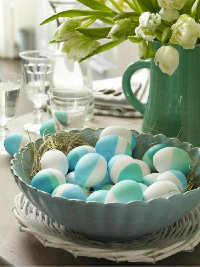 ostereier bemalen aquarellfarben eier faerben grün blau