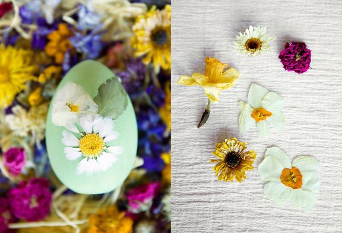 ostereier bemalen basteln mit kindern eier dekorieren getrocknete blumen