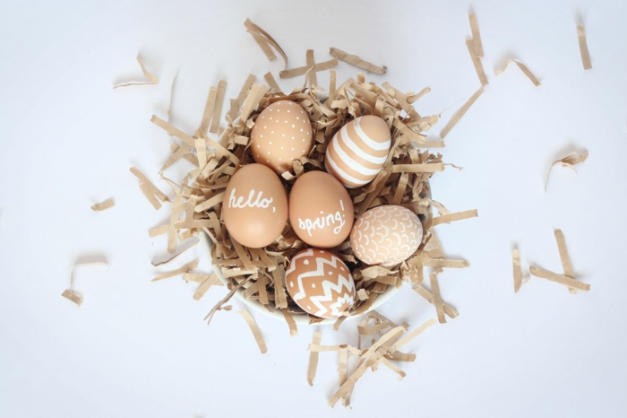 ostereier bemalen puristische eier gestalten basteln mit kindern