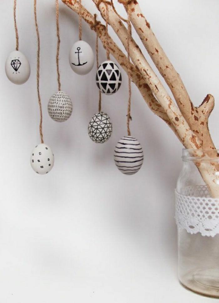 ostereier bemalen schwarz weiß eier dekorieren geometrische muster