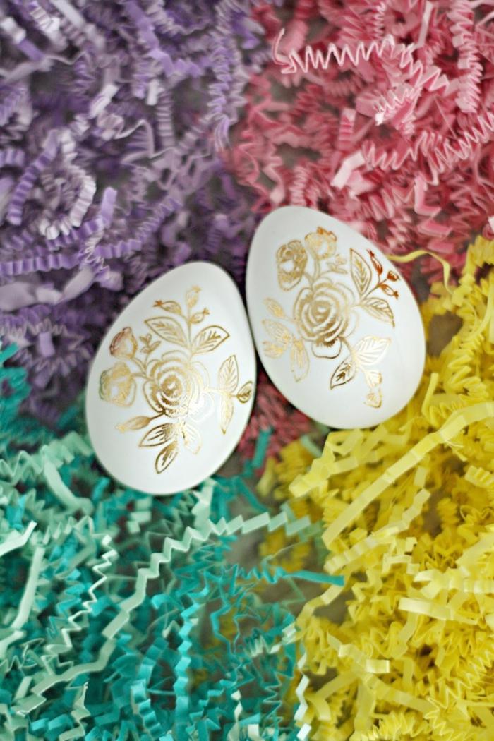 ostereier dekorieren goldene rosen osterdeko selber machen