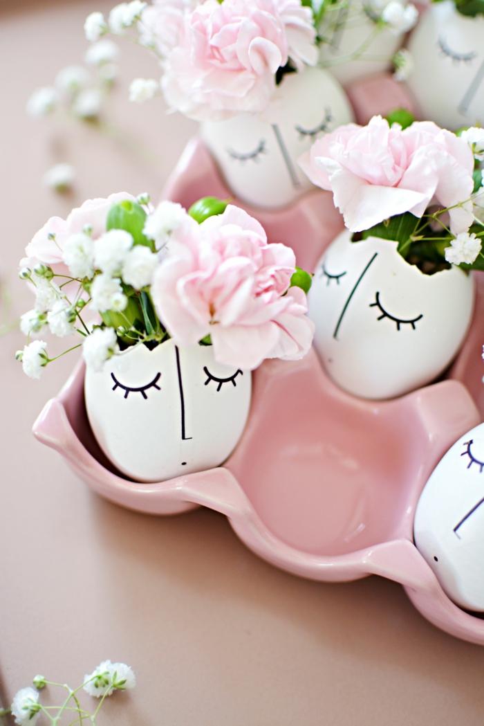 ostereier bemalen dekoideen bemalen gesichter zeichnen diy vasen frühlingsblumen