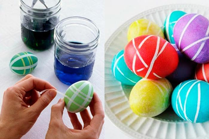 ostereier färben dekoideen eier bemalen diy idee klebeband technik