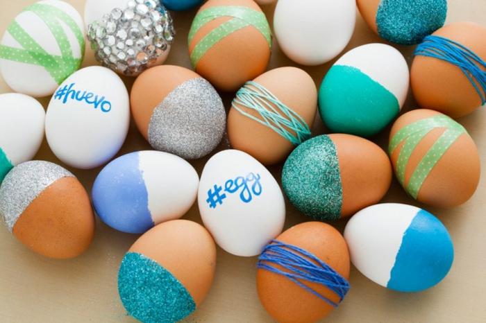 ostereier färben dekoideen eier diy ideen glitzer farbe garn klebeband