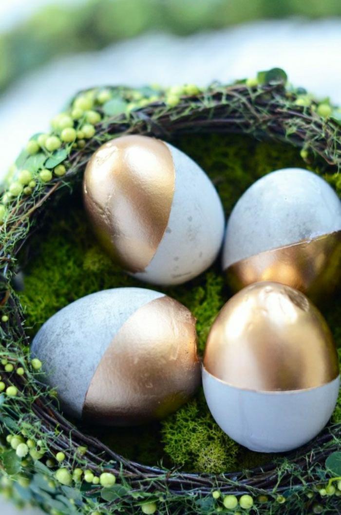 ostereier faerben gold nest weidenzweige nest