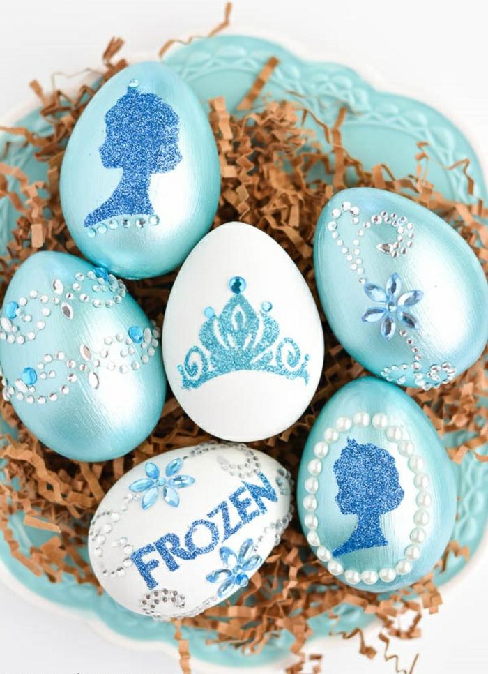 ostereier gestalten blau strasssteine perlen prinzessin frozen