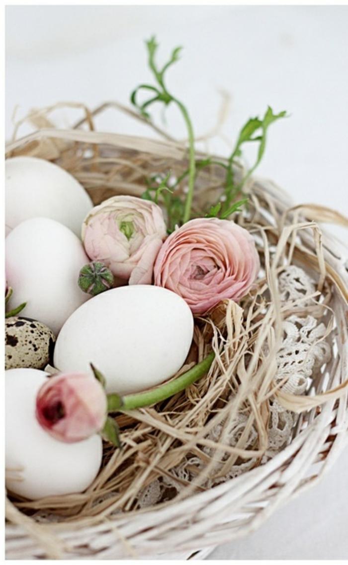 ostereier gestalten faerben weiße eier weidenkorb frühlingsblumen