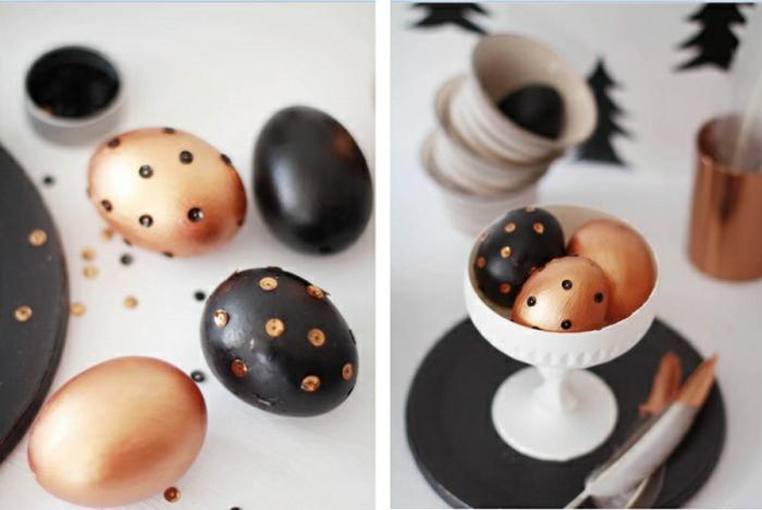 ostereier gestalten kupfer schwarz pailletten osterdekoration tisch