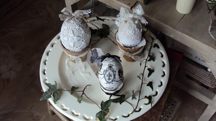 ostereier gestalten spitze decoupage vintage eier dekorieren