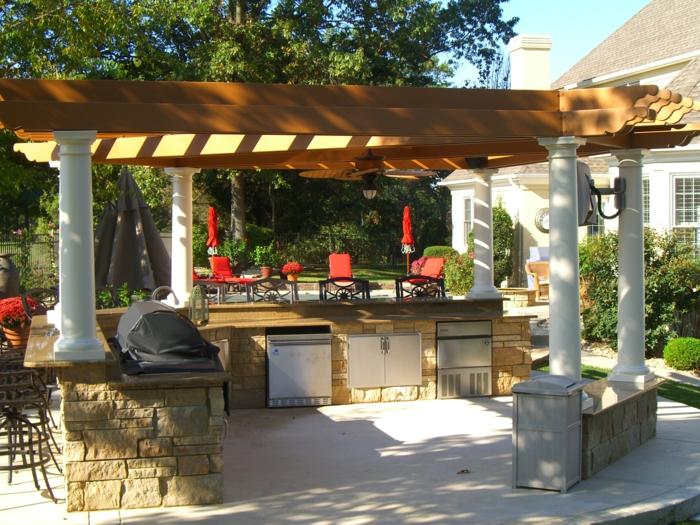 outdoor küche einrichtung schränke material außenbereich gestalten