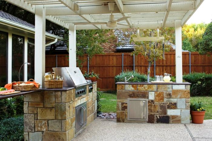 outdoor küche einrichtung schränke steine gartengrill