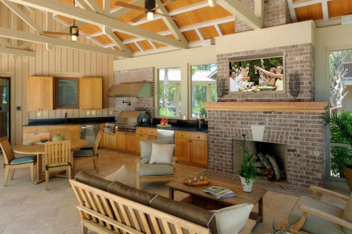 outdoor küche einrichtungsideen holzschränke kamin grill