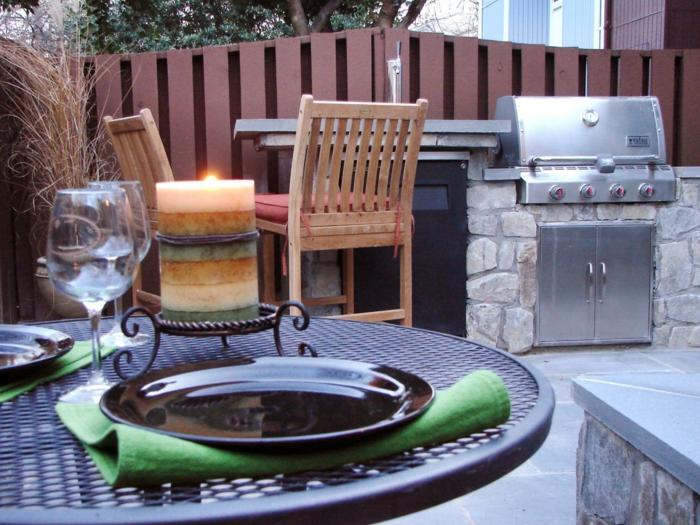 outdoor küche gestalten schränke steine gartenmöbel gartenideen