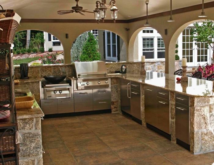 outdoor küche ideen stahl schränke bodenfliesen außenbereich