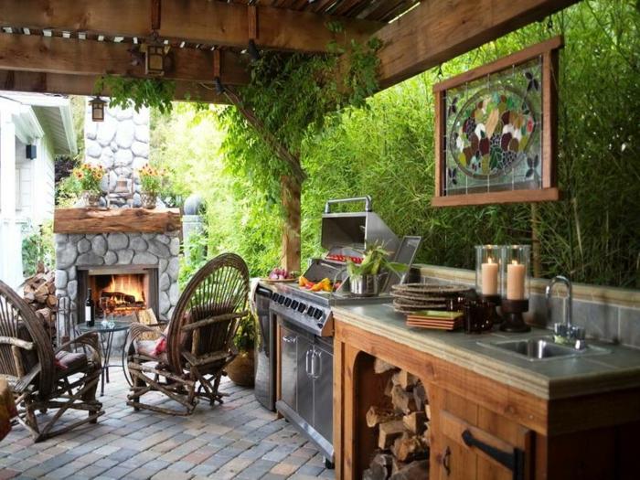 outdoor küche schränke feuerstelle steine gartensessel