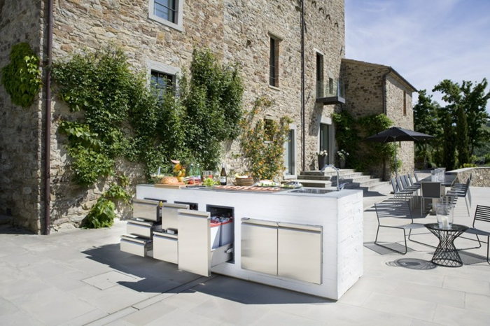outdoor küche schränke kücheninsel grün außenmöbel