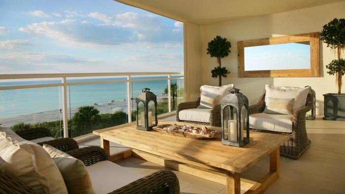 rattanmöbel balkonsessel couchtisch holz balkoneinerichtung terrassengestaltung