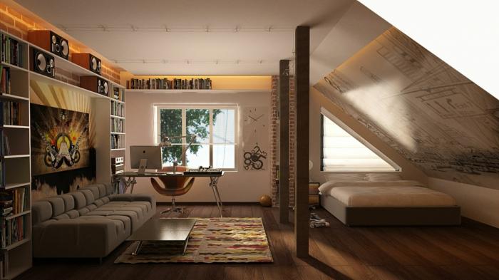 raumgestaltung dachgeschoss dachschräge home office sofa couchtisch teppich doppelbett