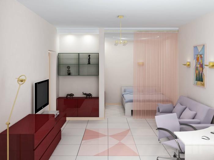 raumgestaltung einzimmerwohnung schlafbereich bett vorhänge schränke hochglanz weinrot sofa lila