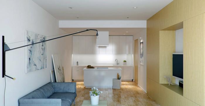 raumgestaltung einzimmerwohnung sofa couchtisch küche kücheninsel