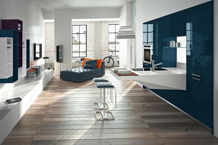 raumgestaltung einzimmerwohnung wohnbereiche sofa theke einrichtung holzdielen