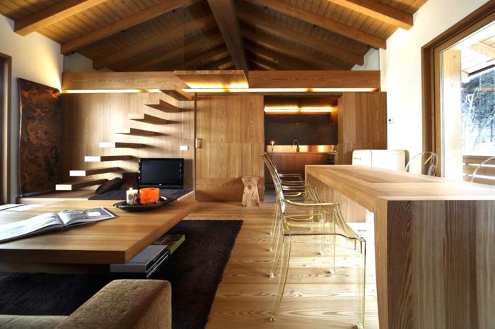 raumgestaltung esstisch couchtisch sofa schwebende treppe dachschräge