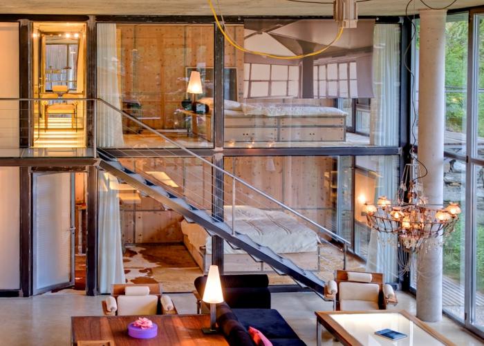 raumgestaltung loftwohnung wohnbereich schlafzimmer kristallkronleuchter