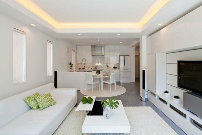 raumgestaltung weiße möbel küche essbereich wohnbereich sofa couchtisch