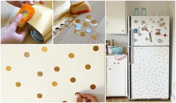 retro kühlschrank goldene punkte design selber machen
