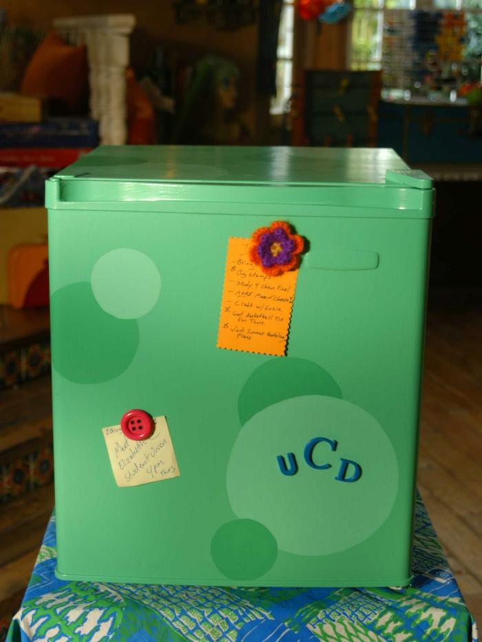 retro kühlschrank grün kreise design vintage selber machen