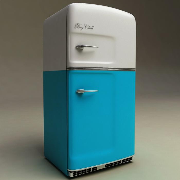 retro kühlschrank marke big chill blau weiß vintage