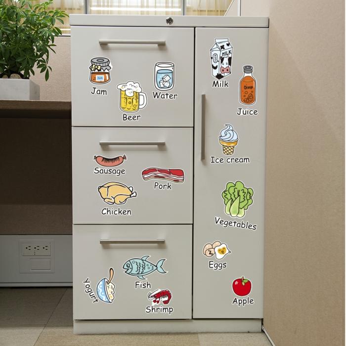 retro kühlschrank selber gestalten aufkleber lebensmittel getränke