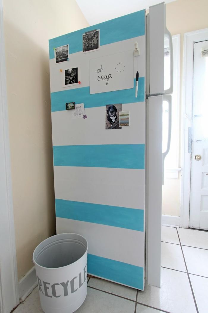retro kühlschrank streifen blau weiß selbe gestalten